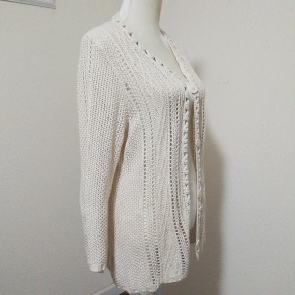2b4ec01b16c Coldwater Creek Sweaters - NWOT COLDWATER CREEK Cream Crochet Tunic Cardigan